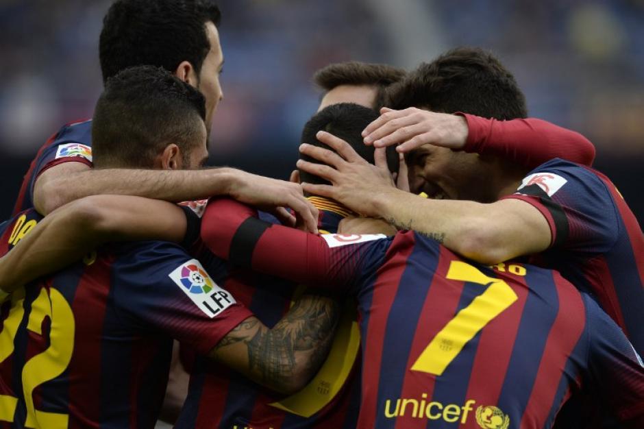 El Barcelona celebra con la anotación del chileno Alexis. Foto AFP