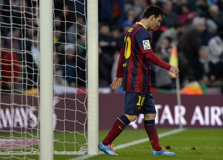 Lionel Messi al finalizar el partido contra el Valencia. Foto AFP