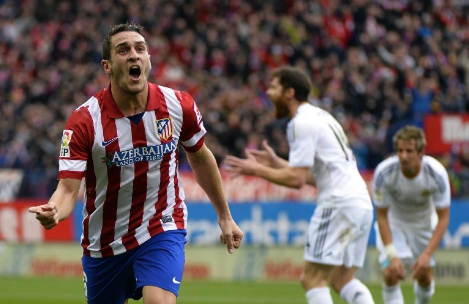 El centro campista del Atlético de Madrid, Koke, celebra su gol en el minuto 27 del juego. (Foto: AFP)