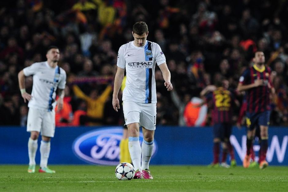 Desilusión del lado del Manchester City tras el gol de Messi. Los ingleses, que están a nueve puntos del líder (Chelsea) en la Premier League, le dijeron adiós a la Champions