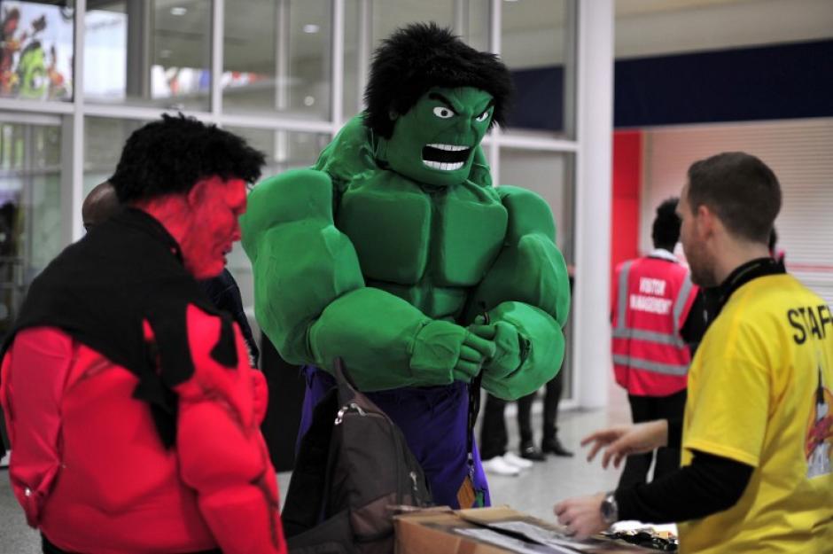 El increíble Hulk también estuvo presente en la convención de comic en Londres. (Foto: AFP)