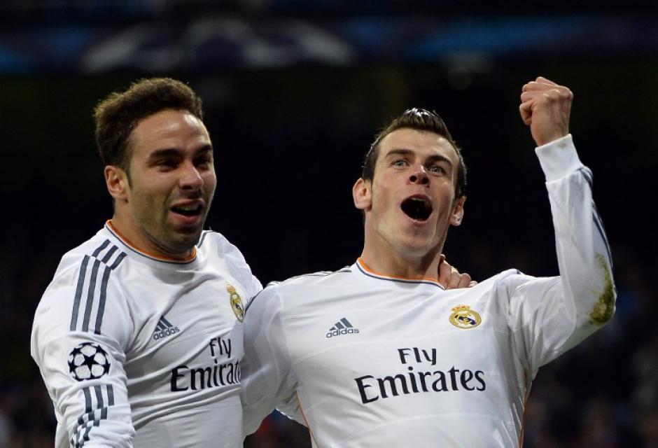 Bale celebra junto a Carvajal el 1-0 conseguido al minuto 3 del primer tiempo
