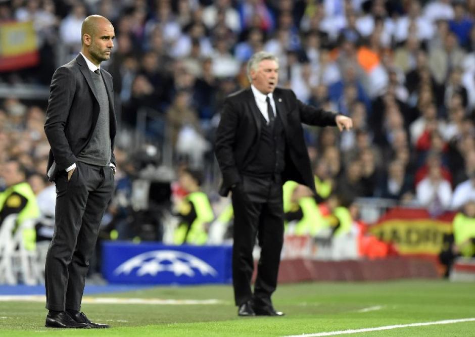 Guardiola y Ancelotti, dos estrategas por un boleto a la final en Lisboa. (Foto: AFP)
