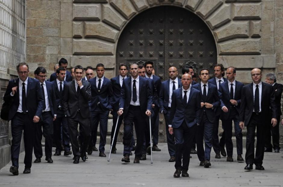 Los jugadores y cuerpo técnico del Barcelona llegaron juntos