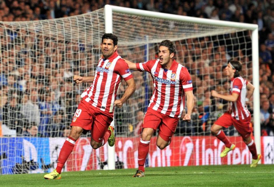 Diego Costa, el goleador del Atlético en la Champions y la Liga, anotó un penal en el triunfo 3-1 de los colchoneros sobre el Chelsea y con esto el conjunto español clasificó a la final de la UEFA Champions League. (Foto: AFP)