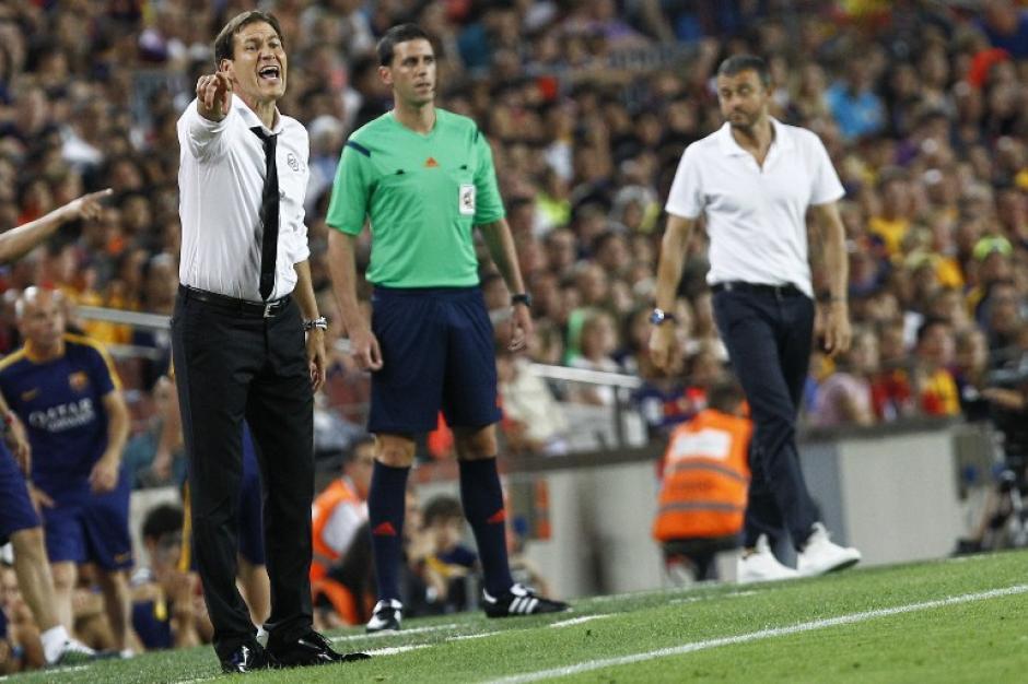 El frances Rudi García y el español Luis Enrique Martínez, técnicos de Roma y Barcelona, respectivamente. (Foto: AFP)