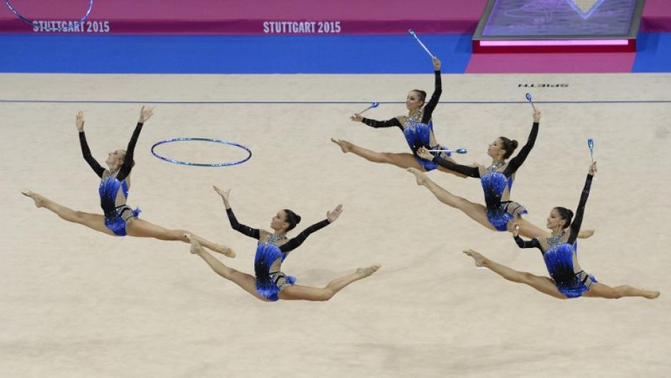 El equipo de Italia captado durante su presentación de la competencia final de grupos. (Foto: Thomas Kienzle/AFP)