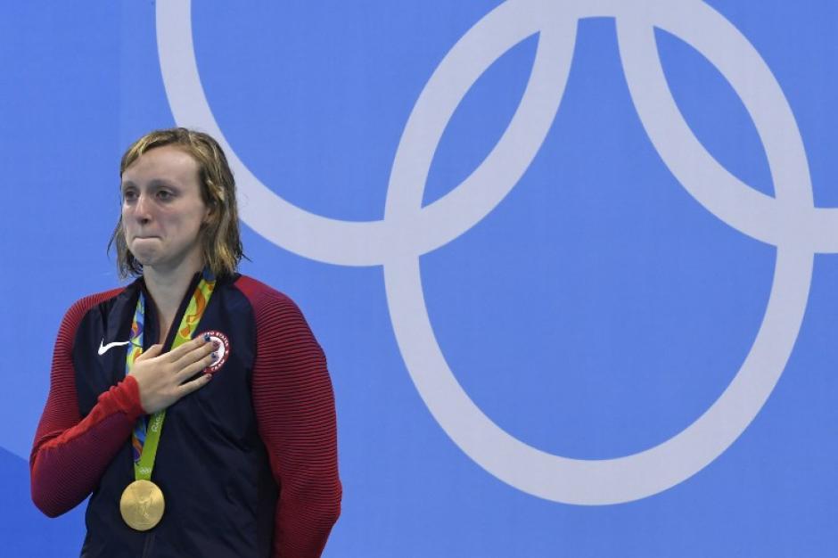 Katie Ledecky, durante su despedida de Río. (Foto: AFP)