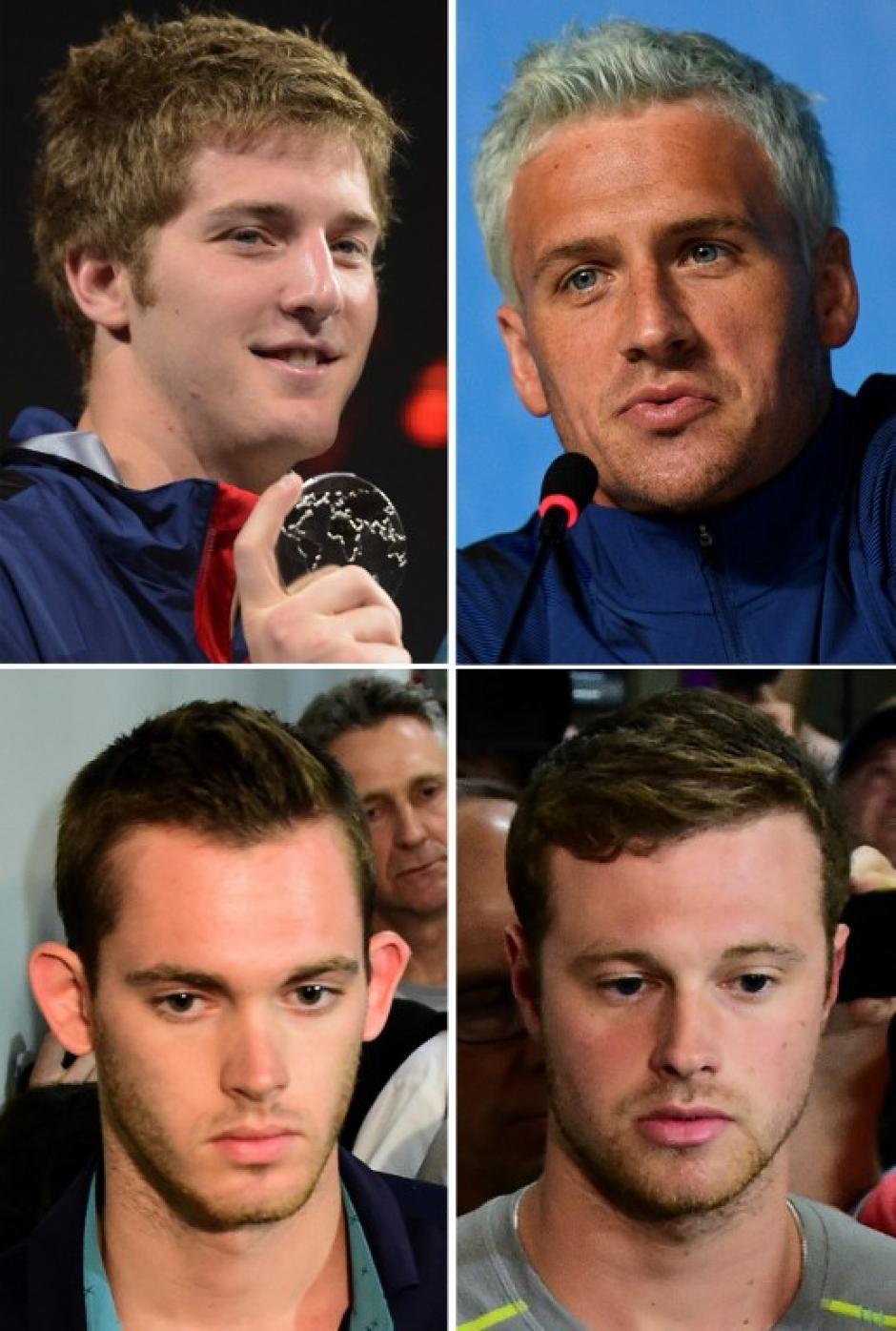 De izquierda a derecha y de arriba a abajo, James Feigen, Ryan Lochte, Gunnar Bentz y Jack Conger, fueron los nadadores involucrados. (Foto: AFP)