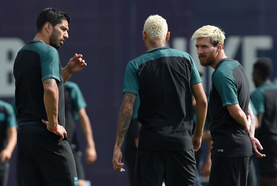 """La """"MSN"""" podría jugar junta ante el Celtic. (Foto: AFP)"""