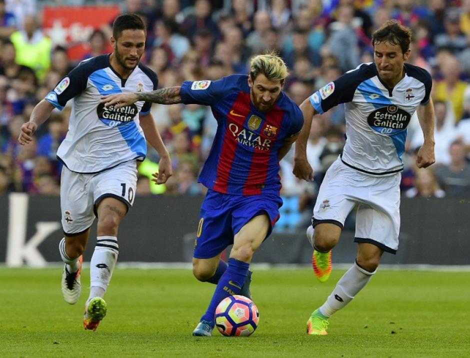 Messi, en el partido contra el Deportivo La Coruña. (Foto: AFP)