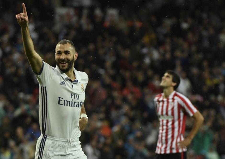 Karim Benzema abrió el marcador para el Madrid. (Foto: AFP)