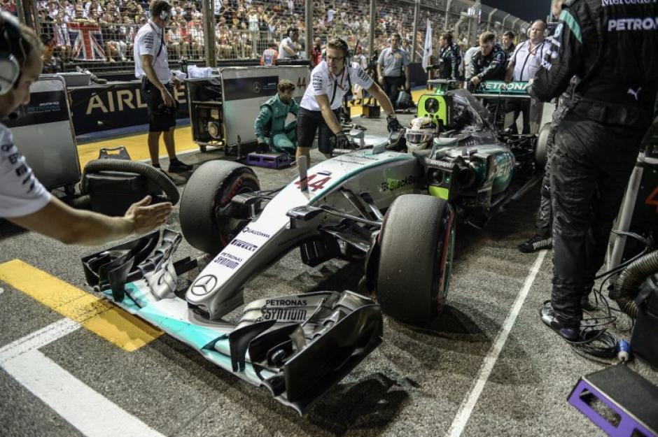 Hamilton abandonó la carrera. (Foto: AFP)