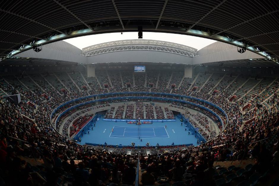 Imagen del Centro de Tenis del Parque Olímpico de Pekín. (Mark Ralston/AFP)