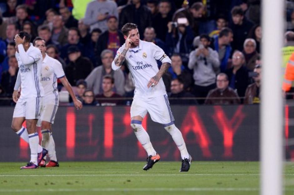 Ramos celebró haber anotado el gol del empate en el Camp Nou. (Foto: AFP)