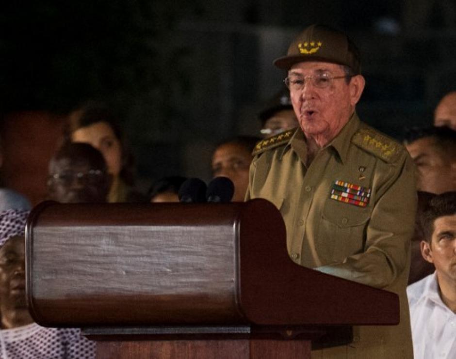 Raúl, hermano de Fidel Castro, fue el último orador durante el homenaje. (Foto: AFP)
