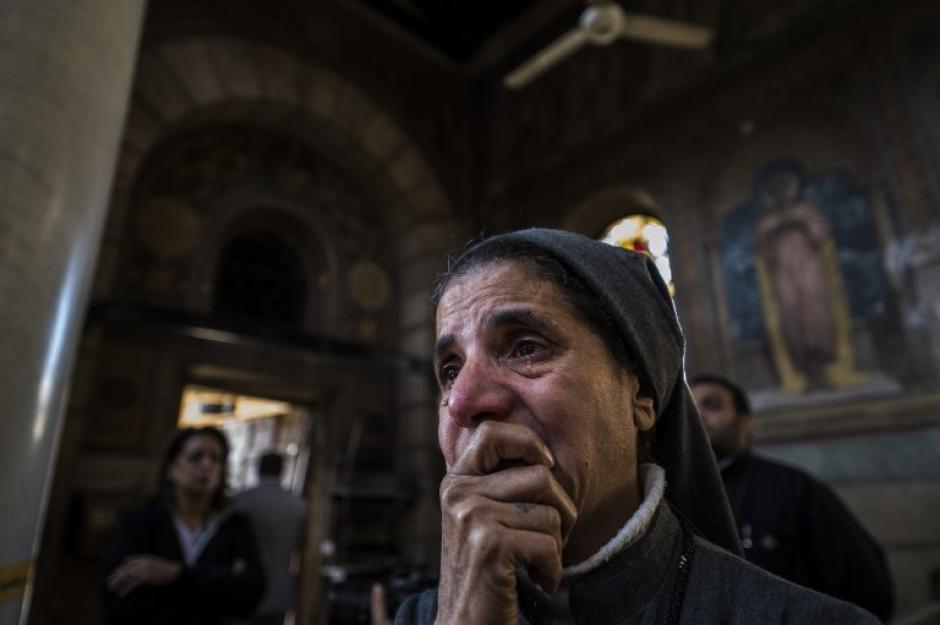 Una bomba fue arrojada en la sala principal de la Iglesia. (Foto: AFP)