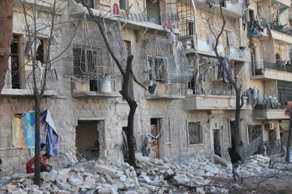 Un vecindario de Alepo controlado por las fuerzas rebeldes. Foto AFP