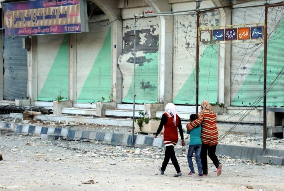 En el norte de Damasco, donde fuerzas leales a Bashar Al Assad tomaron la ciudad de Nabak. Foto AFP