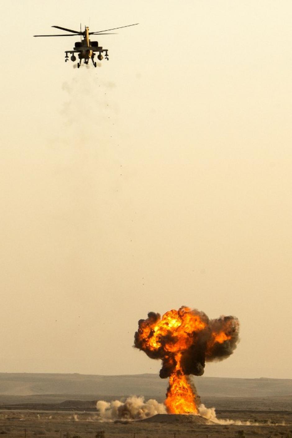 El actual comandante en jefe es el Aluf Amir Eshel, la insignia de la fuerza es una Estrella de David azul sobre un círculo blanco. (AFP)