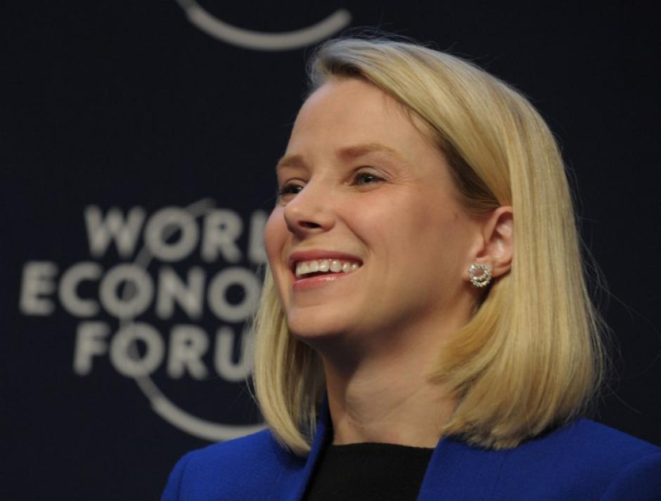 """La CEO de Yahoo, Marisa Mayer, participó en el panel """"El nuevo contexto digital"""", que abrió este día el programa de actividades. Foto AFP"""