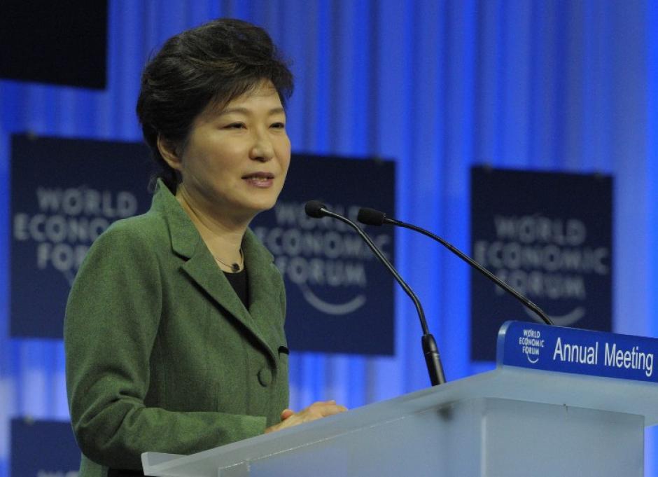 La presidenta de Corea del Sur Park Geun-hye, hizo su alocución este martes. Ella es una de los 40 jefes de estado y mandatarios que participarán en la cita. Foto AFP