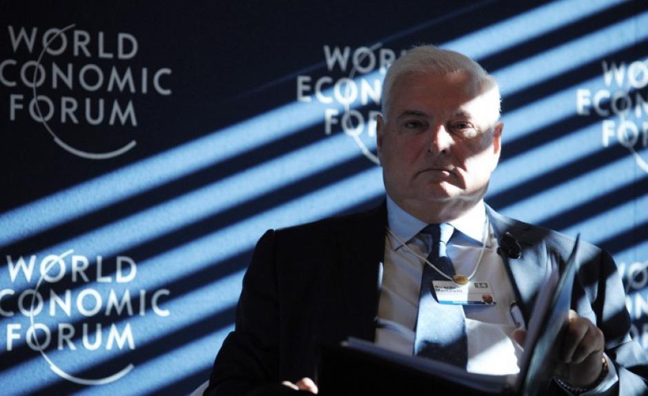 Ricardo Martinelli, presidente de Panamá, uno de los cuatro mandatarios latinoamericanos que participaran en el foro de Davos. Foto AFP