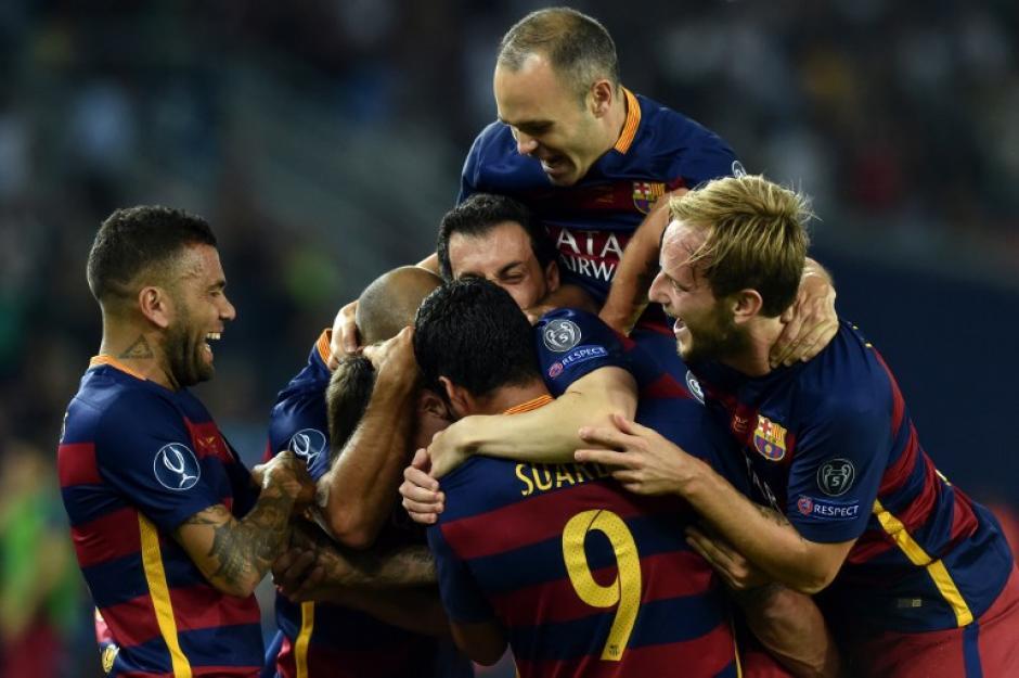 El Barcelona celebró en cuatro ocasiones durante el tiempo reglamentario ante el Sevilla. (Foto: AFP)