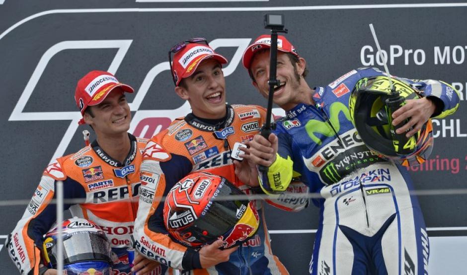 Márquez, Pedrosa y Rossi se subieron al podio del GP de Alemania. (Foto: AFP)