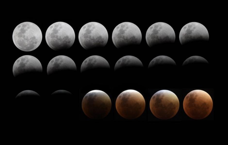 Combo de imágenes tomadas de la Superluna desde Buenos Aires, Argentina. (Foto: Juan Mabromata/AFP)