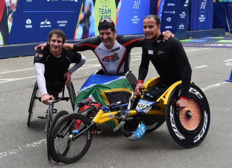 Algunos participantes con capacidades especiales estuvieron presentes en el Maratón. (Foto: AFP)