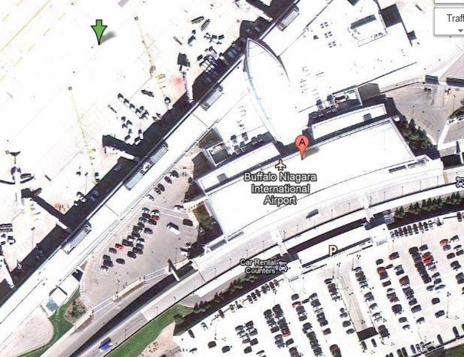 El Aeropuerto Internacional de Bufallo Niagara, cerca de Nueva York, es uno de los lugares bloqueados en Google Maps. (Foto: Google Maps)