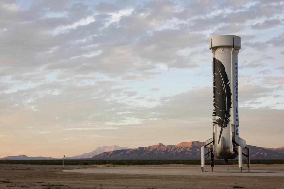 La sección de su cohete que regresó a la tierra sano y salvo en Texas. (Foto: Blue Origin)