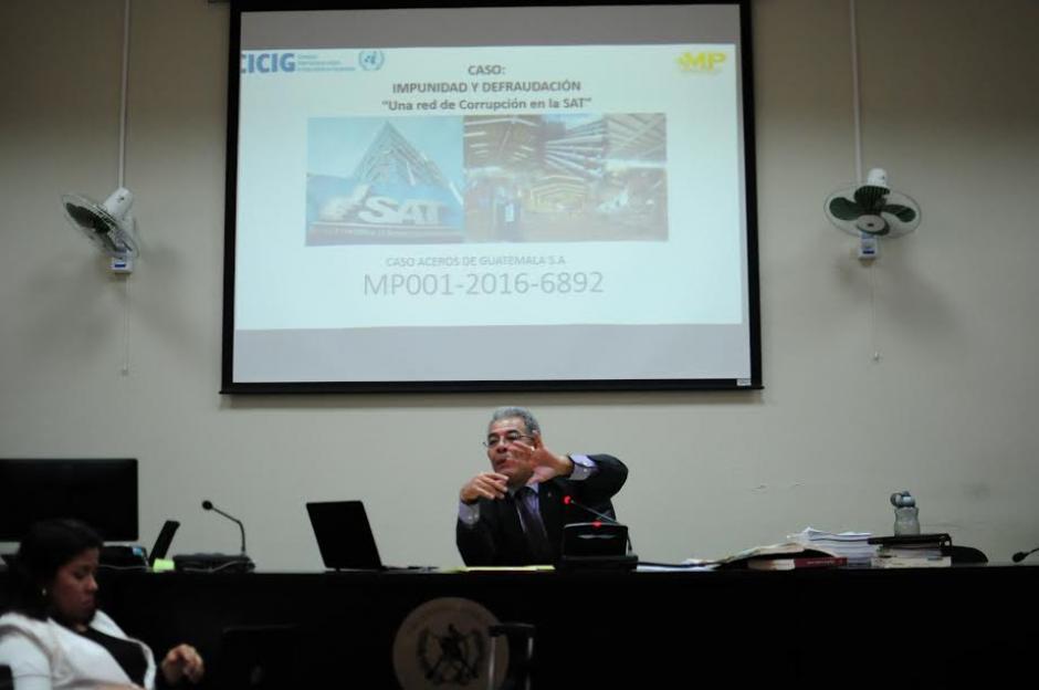 """El Juez """"B"""" de Mayor Riesgo, Miguel Ángel Gálvez, continúa con la audiencia de primera declaración del caso la Línea 2. (Foto: Alejandro Balán/ Soy502)"""