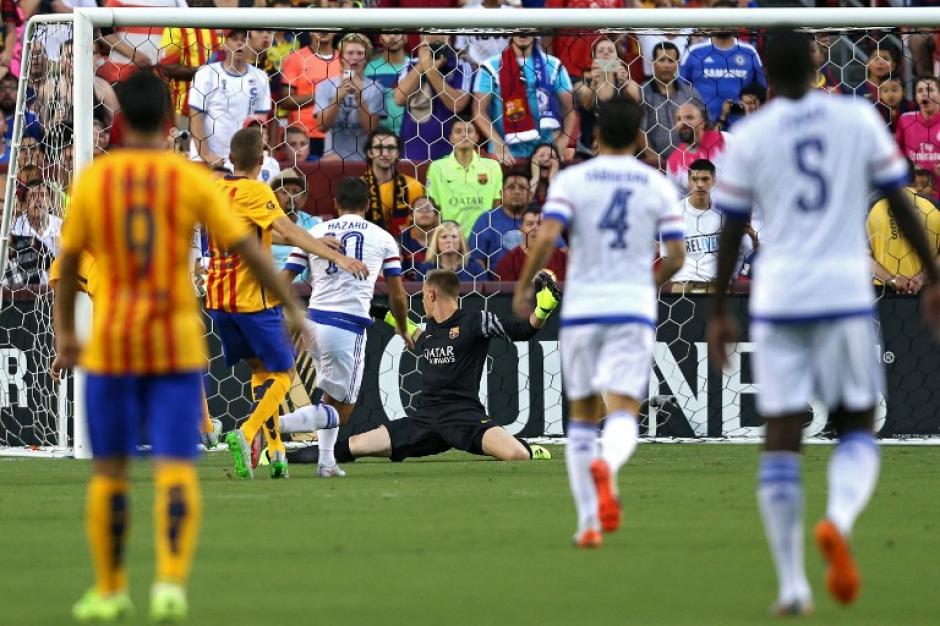 El remate de Hazard supera a Ter Stegen para el 1-0 del Chelsea sobre el Barcelona en Estados Unidos. (Foto: AFP)