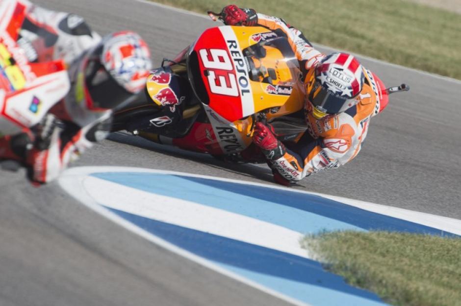 Marc Márquez captado durante el circuito de competencia de Indianápolis en Estados Unidos. (Foto: AFP)