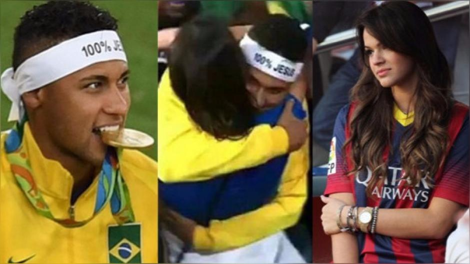 Tras ganar el oro olímpico con Brasil, Neymar fue a los graderíos a celebrar con Bruna. (Foto: Twitter)