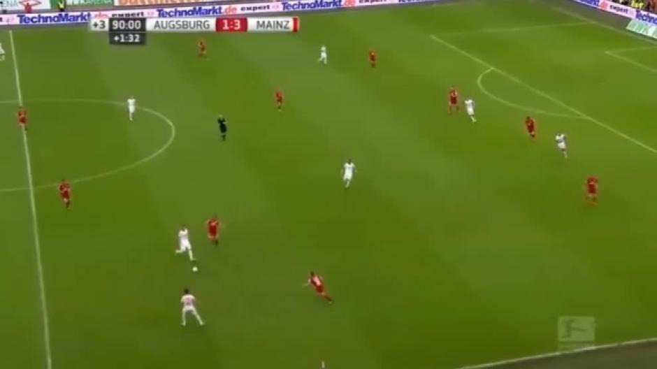 El juego estaba por terminar, cuando José Rodríguez del Mainz cometió la grave falta. (Foto: Captura Pantalla)