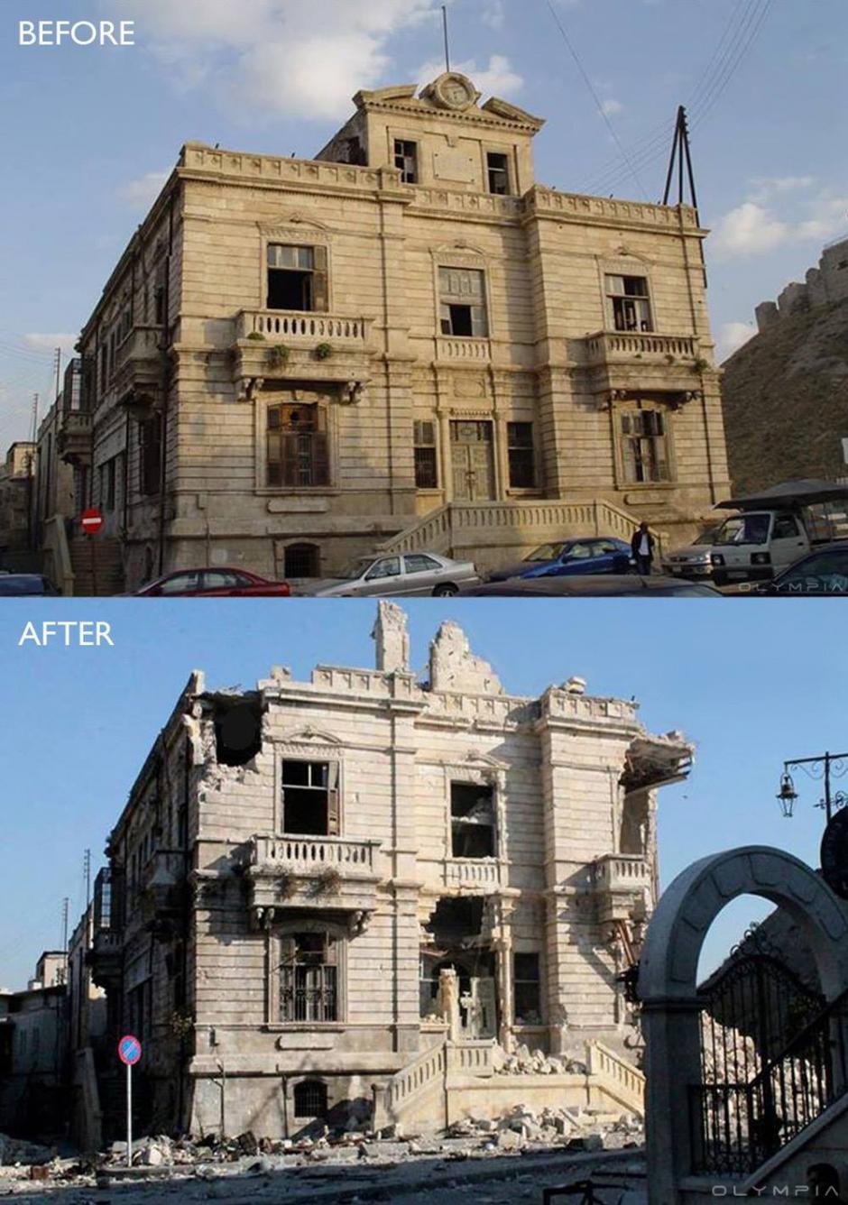 El edificio de migración y pasaportes antiguos frente al Castillo de Alepo. (Foto: Olympia.Rest/Facebook)