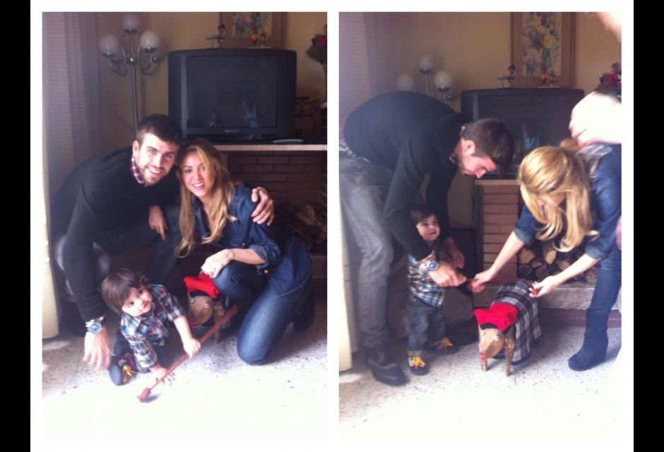 Milan y sus padres disfrutando de la primera Navidad juntos.