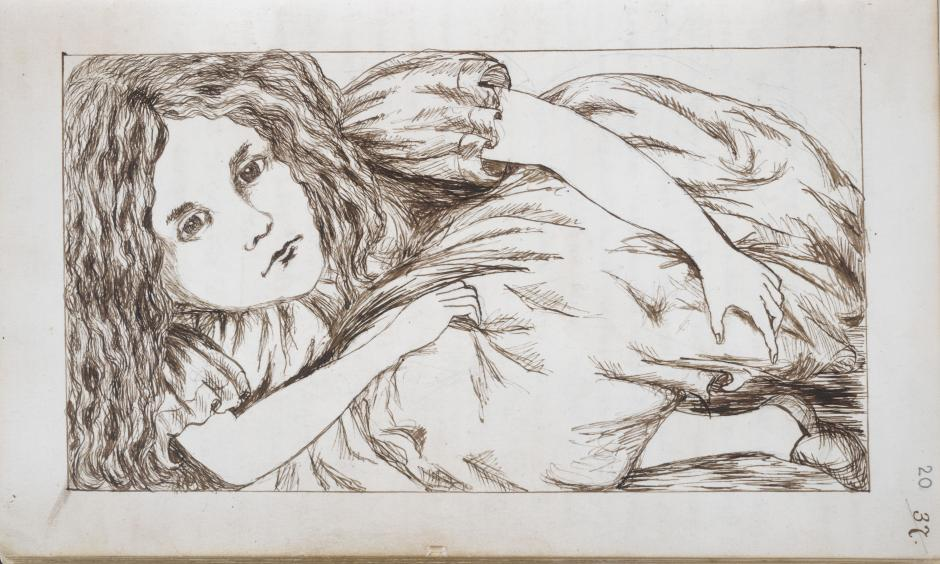 """Fotografía facilitada por Biblioteca Británica, del dibujo del manuscrito original de """"Las Aventuras Subterráneas de Alicia"""", hecho por Lewis Carroll entre 1862 y 1864 para el libro de """"Alicia en el País de las Maravillas"""", donde la Biblioteca recrea un mundo de fantasía."""