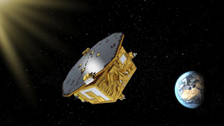Fotografía facilitada por la Agencia Europea Espacial (ESA) de una recreación del satélite científico europeo LISA Pathfinder una vez situado en su destino final, a 1.5 millones de kilómetros de la Tierra. (Foto: EFE)