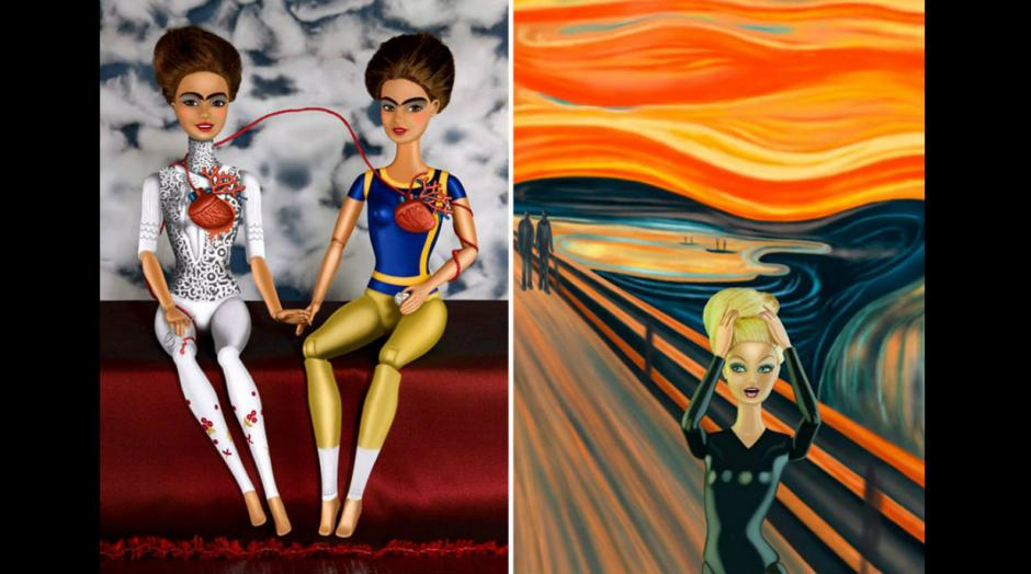 """""""Las dos Fridas"""" y """"El grito"""" son dos de las obras más reconocidas de las que la artista ha hecho una nueva versión. (Foto: Pinterest/catherinethery)"""