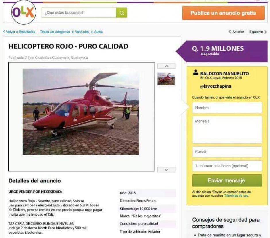 El helicóptero de Manuel Baldizón ya está es ofrecido en internet para el pago de la campaña electoral.