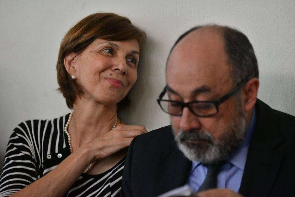 La esposa del abogado Francisco Palomo en la audiencia de primera declaración por la muerte del jurista. (Foto: Wilder López/ Soy502)