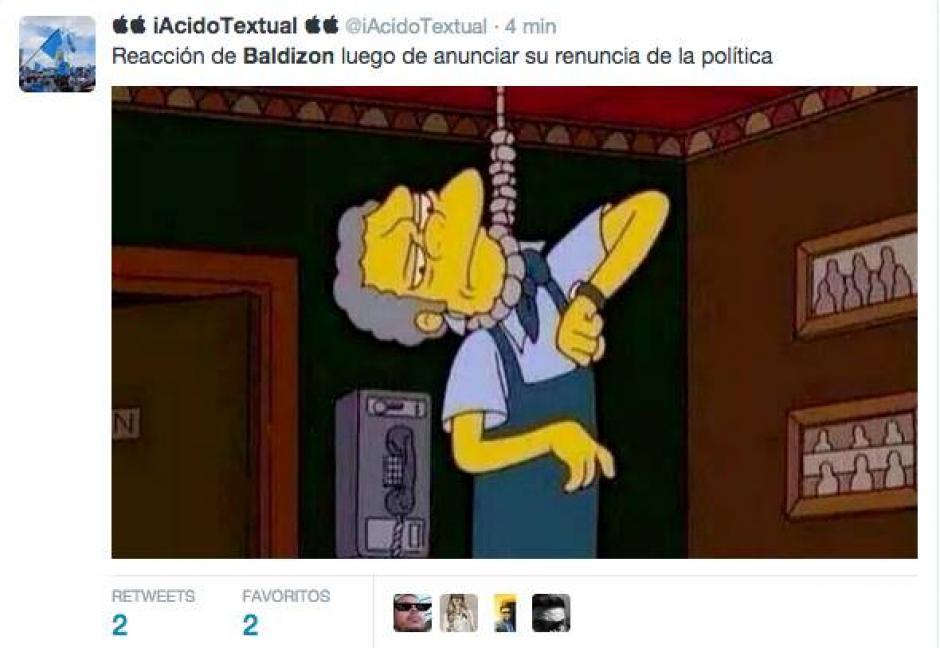 Las bromas gráficas acerca de la renuncia de Baldizón a la política llegaron por docenas. (Foto: Twitter)