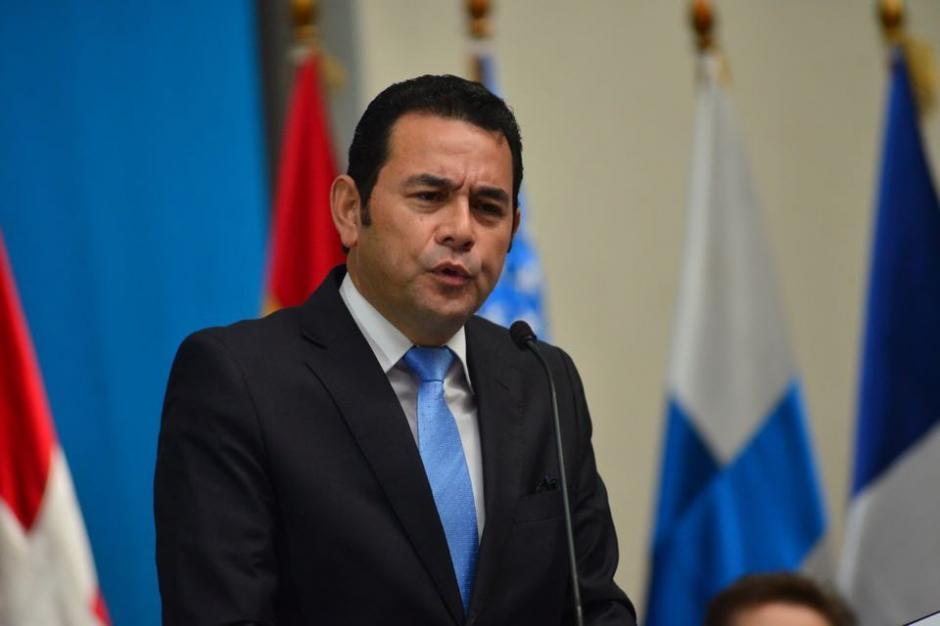 El presidente electo, Jimmy Morales, durante la entrega del Informe de Labores de la CICIG. (Foto: Jesús Alfonso/Soy502)