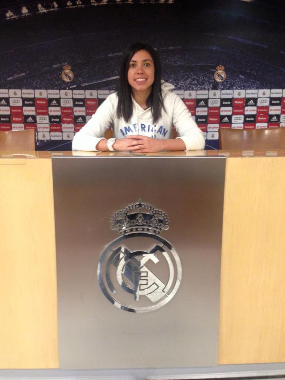 Ana Lucía Martínez, en la sal de prensa del estadio Santiago Bernabéu. (Foto: Ana Lucia Martínez)