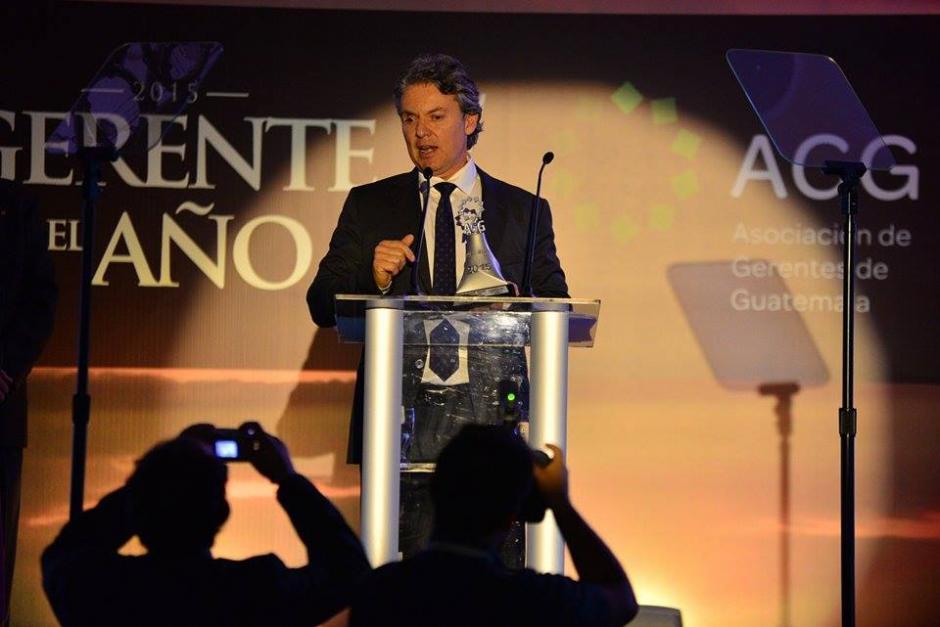 En la categoría de Expansión, Gerardo Aranera, de Guandy, felicitaba a su equipo por todo el esfuerzo realizado en los últimos 30 años. (Foto: Wilder López/Soy502)