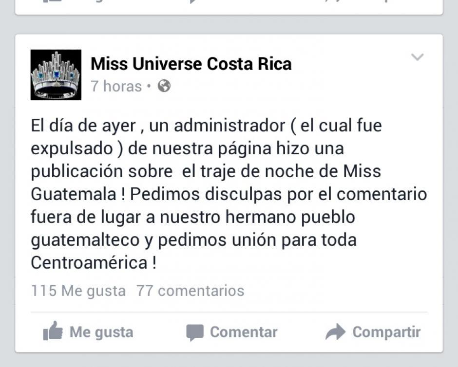 Finalmente, la página oficial de Miss Guatemala pidió disculpas, añadiendo que el supuesto administrador de la página fue despedido. (Foto: Miss Guatemala oficial)